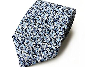 Liberty Pepper Blue tie, dark blue tie, flower tie, skinny necktie, wedding tie, men's floral tie, groom's tie, Liberty of London