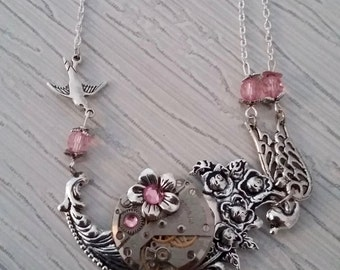 Flower and bird pendant necklace