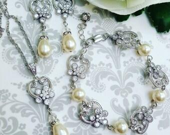 Bridal Jewelry Set, Wedding Jewelry Set, Bridal Pearl Jewelry Set, Bridal Pearl Necklace Set, Bridal Pearl Earrings, Vintage Wedding Jewelry