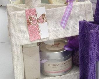 Lavender gift set - Lavender candle, lavender soap and lavender bag in a gift bag- Scottish Pamper Gifts For Her