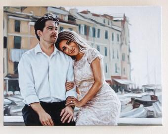Custom Portrait Oil Painting 12x16 from Photo Wedding Anniversary Gift