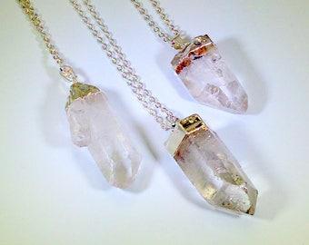 Quartz Necklace Quartz Point Healing Necklace Silver Quartz Crystal Necklace Raw Quartz Necklace Healing Crystals and Stones Crown Chakra