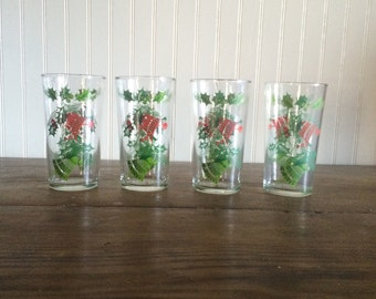 Vintage Christmas Holiday Juice Glasses Christmas Bells and Holly Swanky Swigs