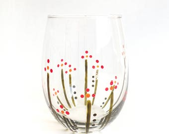 Hand Painted Stemless Wine Glass - Flower Garden - Translucent Green, Red and Yellow Flowers on a Clear Glass