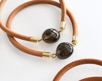 Leather bangle - Smokey Quartz stone bracelet