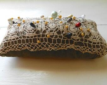 Vintage Pin Cushion. Stick Pins. Sewing. Seamstress.