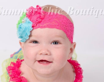 Baby Headband, Infant Headband, Newborn Headband - Birthday Headband - Pink, Lime and Aqua Headband, Pink, Aqua, and Lime Green Headband