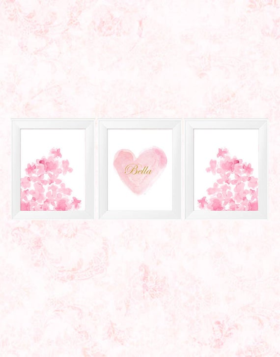 Pink Hearts and Flowers Girls Print Set, Set of 3-11x14