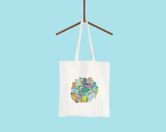 Roarsome Tote Bag: funny eco friendly shopping bag with dinosaur illustration. Useful & fun gift for nursery toy bag and teacher end of term