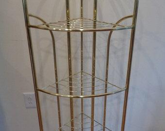 Vintage 1980's Brass Plated 4 Tier Corner Shelf,Display Shelves,