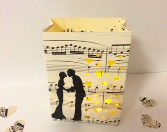 1 Mini Sheet Music Luminary, Music Decorations, Music Theme, Sheet Music Art, Music Gift, Piano, Music Notes