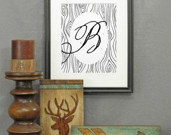 Large Letter B Print, printable letter art, letters, typography, monogram art, modern rustic décor, alphabet, poster, initials, wood grain
