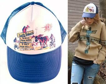 Vintage Nylon NISSIN CAP South Dakota Western Summer Mesh Trucker Baseball Hat CAMPY Hip hop grunge Man Woman Retro 80s Novelty All Size Cap