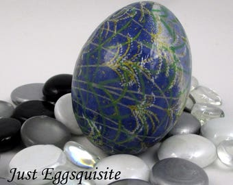 Japanese Washi Easter Egg Blue and Green Grass Hand Decorated Chicken Egg