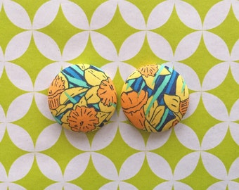 Yellow Button Earrings / Fabric Covered / Daffodil / Wholesale Jewelry / Handmade in USA / Jewellry Handmade / Stud Earrings