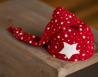 Newborn Hat Upcycled Newborn Hat Red with White Stars Patriotic Ready to Ship Hats Nautical Photography Prop Newborn Boy Hat Neutral Newborn
