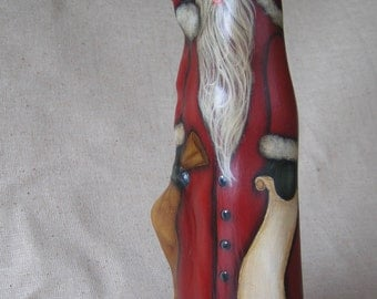 """9.5"""" Red Painted Wood Cypress Knee Santa Claus Add Your Names  ***NEW***ONE of a KIND"""