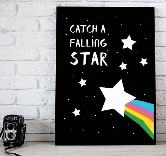 Bold Baby Girl Playroom Nursery Catch a Falling Star Rainbow Kawaii Cute Modern Trendy Print - Digital Instant Download