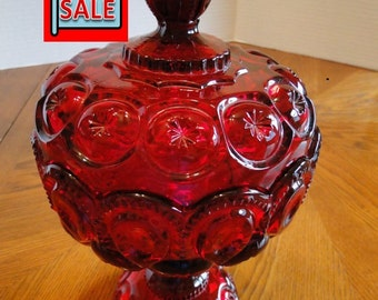 Sale, Clearance, 20% Off - Vibrant Moon & Stars Covered Candy Dish, Red Candy Dish, Dish with Lid, Centerpiece bowl with Lid