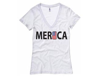 American Merica Shirt - Womens V-Neck T-Shirt. Long Length Tee. Black, White, Grey