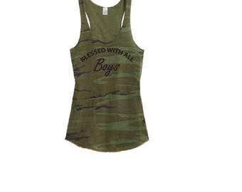 Blessed with Boys Mom Life Camo Racer back Tank Top Shirt - Womens Tee. Camoflauge Shirt
