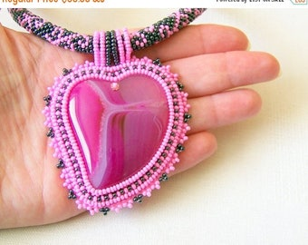 15% SALE Beadwork Bead Embroidery Pendant Necklace with Agate - PINK HEART - pink and grey hematite necklace - romantic necklace