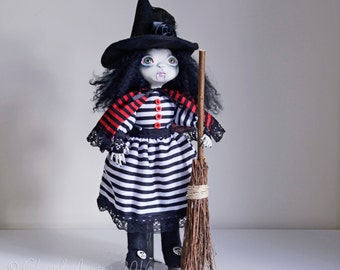 WINTER SALE-OOAK .Vampire. Witch. Art Doll - Handmade Art Doll - By Doll Artist Cheryl Austin