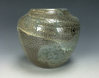 Yellow Light Green-Blue and Spotted Brown Ceramic Vase, Modern Home Decor, Unique Clay Bud Vase, Salt Fired Vessel, Orange Peel Texture