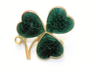 Antique Mizpah Brooch, Sweetheart Broch, Lucky Green Shamrock Brooch, Green Clover Brooch, Enamelled Small Brooch (c1930s) - Wedding