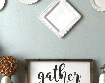 Gather- Painted Wooden Sign