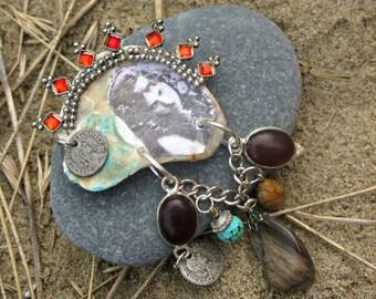 Mermaid's Grotto OOAK Wearable Art Assemblage Tribal Style Vintage Gypsy Girl Oyster Shell Brooch