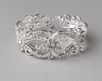 Vintage Wedding Bracelet, Floral Bridal Bracelet, Wedding Bracelet, Silver Rhinestone Bracelet, Floral Wedding Bracelet, Bridal ~JB-4829