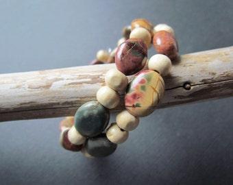 25% OFF SALE Picasso Jasper Bracelet - Boho Wood Bead Jewelry - Earthy Gemstone Adjustable Band