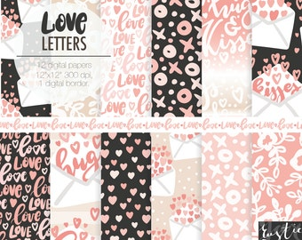 Valentines day digital paper LOVE LETTERS. Envelopes, hearts, hand lettering xo patterns in blush pink, sand beige and night black colors.