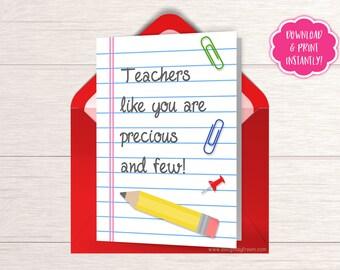 Teachers Appreciation Card - Teacher Appreciation Week - Teacher Gift - Card for Teacher - Teachers Like You Are Precious And Few - HC02