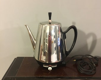 1960s Vintage 1970s MidCentury Sunbeam Coffeemaster Model AP-BB 12 Cup Chrome Percolator Coffee Pot Clean Tested & Working