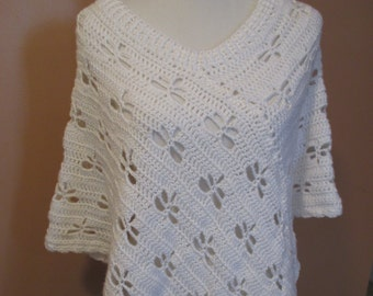 Crocheted White Dragonfly Poncho