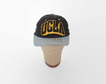 Vintage 80s UCLA BRUINS Hat / 1980s Blue Gold Black Mascot Logo Snapback Cap
