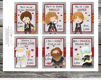 Printable Valentine Cards, Harry Potter Valentine's Day Cards, Classroom Cards, Kids Valentine Cards, HP, Muggle, potter, DIY Valentine card