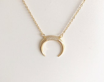 Crescent moon necklace, double horn necklace, bohemian layering necklace, diamond moon, Gold horn, silver horn, Boho necklace, bone necklace