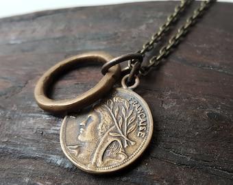 Solid Bronze République Française Style Coin Necklace - French, Marianne
