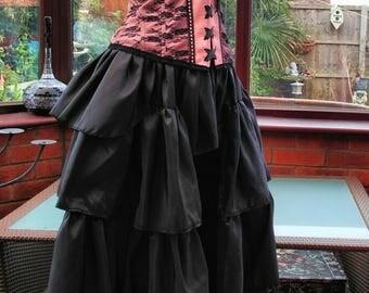 Corset dress goth steampunk burlesque black/pink corset long frilled taffeta satin bustle skirt 40inch bust waist 32inch ajustable size