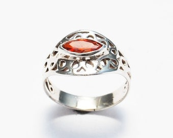 Delicate Silver Ring, Orange Marquise Gemstone Ring, Promise Ring For Her, Anniversary Gift For Wife, Delicate Engagement Ring, Unique Ring