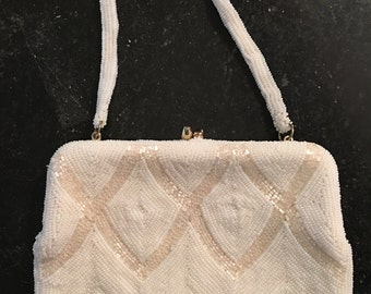 Walborg Cream/White Beaded Evening Bag
