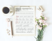 Calligraphy practice sheets, learn calligraphy drills, printable calligraphy practice worksheet, Printable Wisdom calligraphy connections