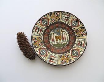80s Cuzco Peruvian Plate Decorative Hand Painted Plate