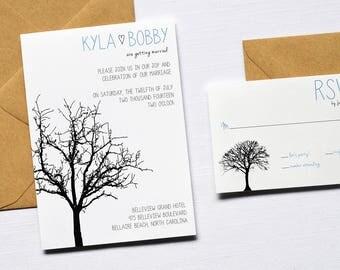 Printable Wedding Invitation, Fall Wedding Invite, Kraft Wedding Invite,  Tree Wedding Invitation,