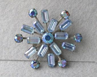 Sparkling 1950's Vintage Blue Aurora Borealis Rhinestone SNOWFLAKE Pin