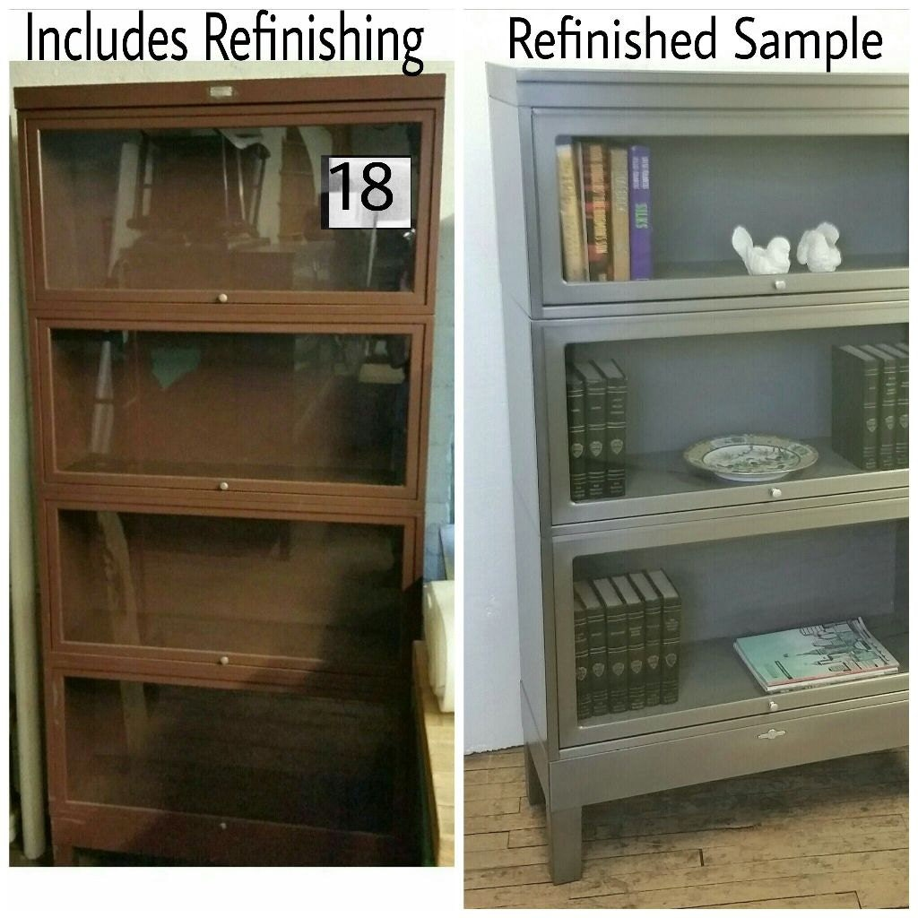 Steel Barrister Bookcase: Metal Barrister Bookcase 4 Section Refinished Vintage Mid