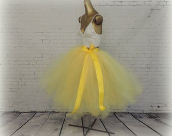 Adult Belle yellow tea length tutu, sewn tutu, cottage chic wedding rustic country western tutu bridesmaid tutu yellow, sunshine yellow